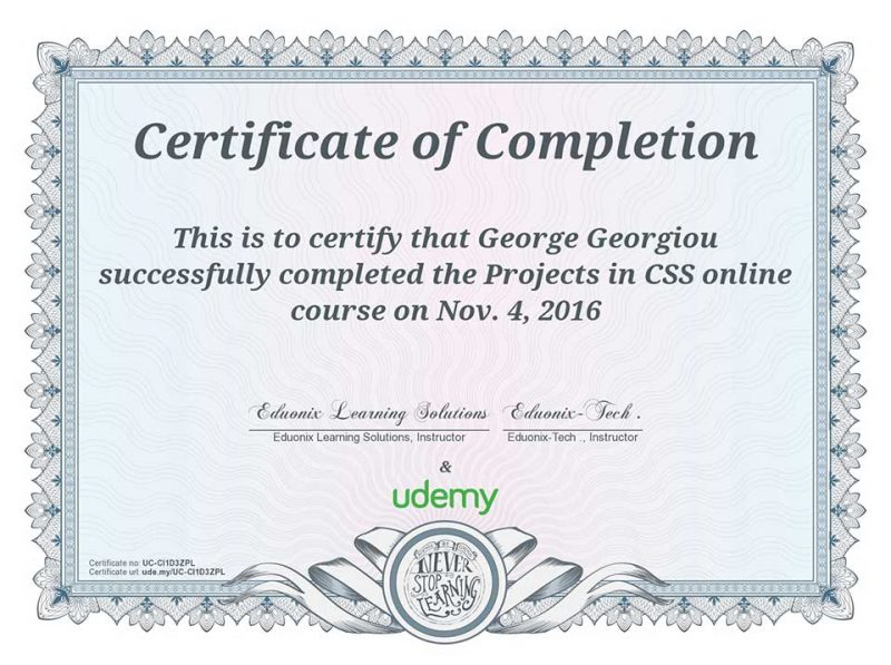 CSS Projects Certification from Udemy